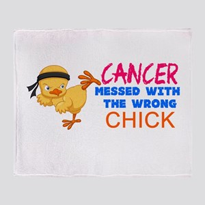 Cancer Messed With The Wrong Chick Throw Blanket
