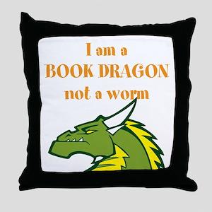 Book Dragon Throw Pillow