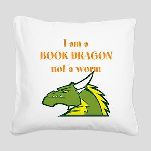 Book Dragon Square Canvas Pillow