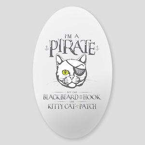 Pirate Kitty Sticker (Oval)