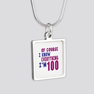 I Know Everythig I Am 100 Silver Square Necklace