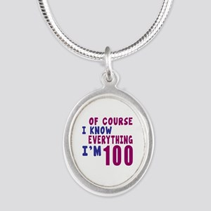 I Know Everythig I Am 100 Silver Oval Necklace
