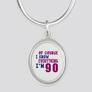 I Know Everythig I Am 90 Silver Oval Necklace