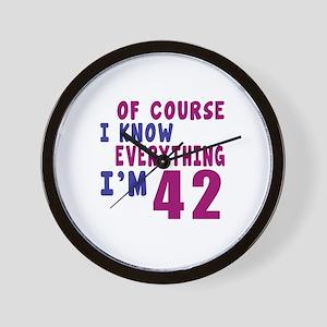 I Know Everythig I Am 42 Wall Clock