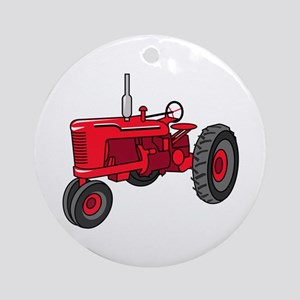 Vintage Red Tractor Round Ornament