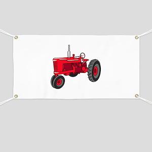 Vintage Red Tractor Banner
