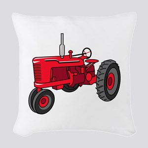 Vintage Red Tractor Woven Throw Pillow