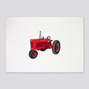 Vintage Red Tractor 5'x7'Area Rug