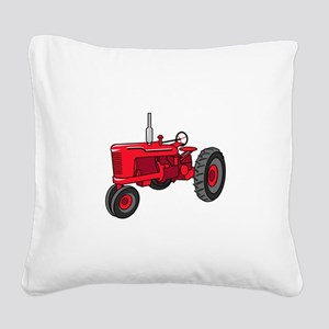 Vintage Red Tractor Square Canvas Pillow
