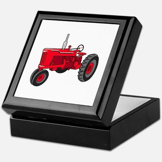 Vintage Red Tractor Keepsake Box