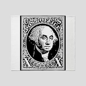 Black Washington 10 Cent Stamp Throw Blanket