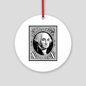 Black Washington 10 Cent Stamp Round Ornament