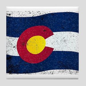 Waving Colorado State Flag Tile Coaster