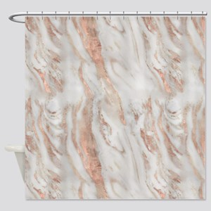 Rose Gold Marble Shower Curtain