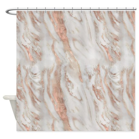 Rose Gold Marble Shower Curtain By ADMIN CP113483648