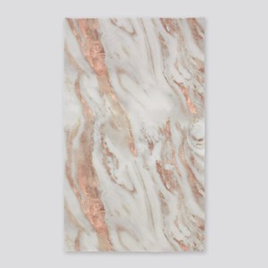 Rose Gold Marble Area Rug