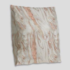 Rose Gold Marble Burlap Throw Pillow