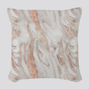 Rose Gold Marble Woven Throw Pillow