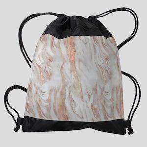 Rose Gold Marble Drawstring Bag
