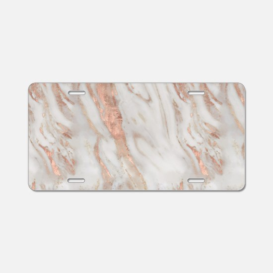 Rose Gold Marble Aluminum License Plate
