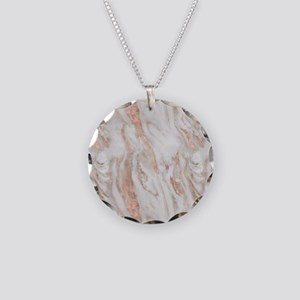 Rose Gold Marble Necklace Circle Charm