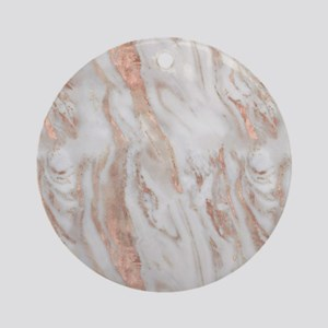 Rose Gold Marble Round Ornament