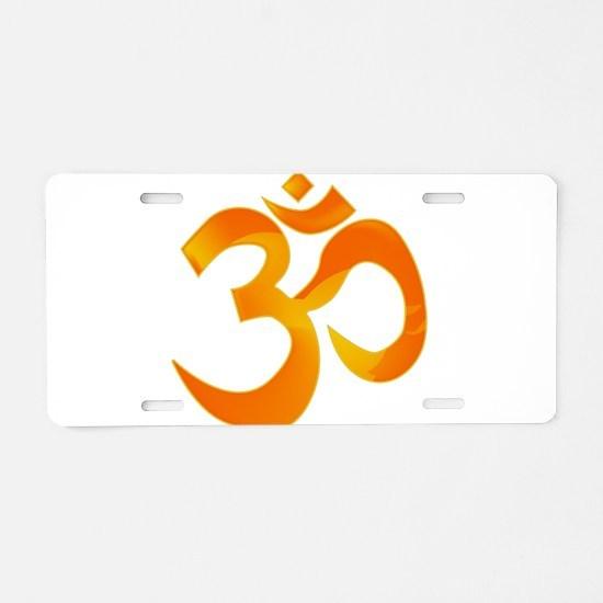 Orange Om Aluminum License Plate