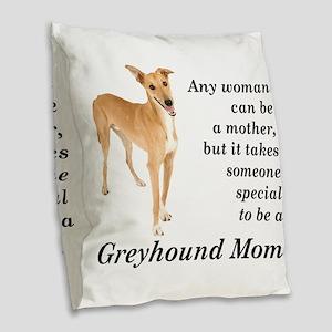 Greyhound Mom Burlap Throw Pillow
