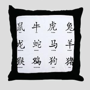 Chinese Years Sumbols Throw Pillow