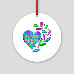 Scrapbooking Happy Heart Round Ornament