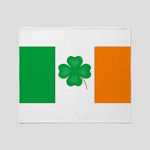 Irish Flag With Lucky Shamrock Throw Blanket