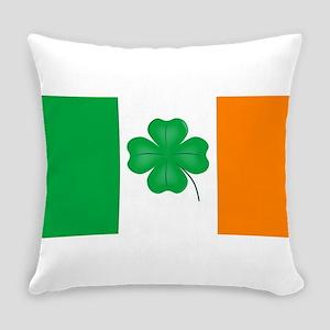 Irish Flag With Lucky Shamrock Everyday Pillow