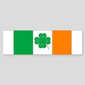Irish Flag With Lucky Shamrock Bumper Sticker