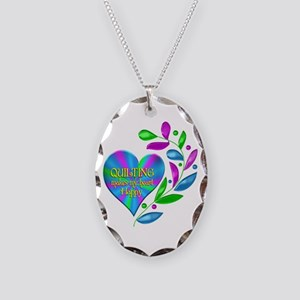 Quilting Happy Heart Necklace Oval Charm