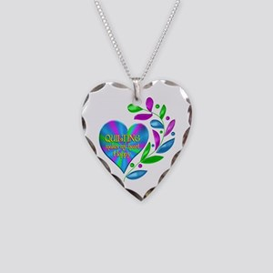 Quilting Happy Heart Necklace Heart Charm