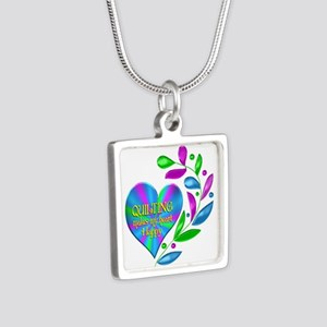 Quilting Happy Heart Silver Square Necklace