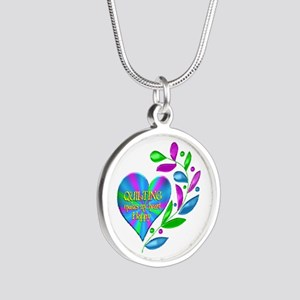 Quilting Happy Heart Silver Round Necklace