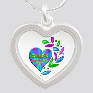 Quilting Happy Heart Silver Heart Necklace