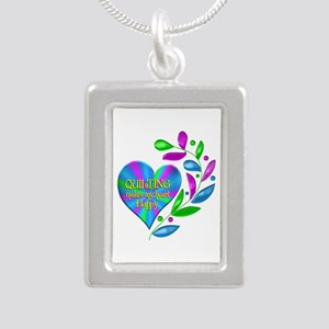 Quilting Happy Heart Silver Portrait Necklace