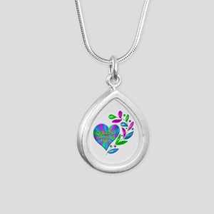 Quilting Happy Heart Silver Teardrop Necklace