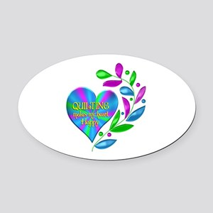 Quilting Happy Heart Oval Car Magnet