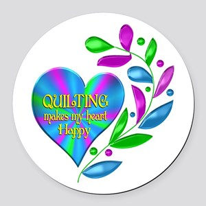 Quilting Happy Heart Round Car Magnet