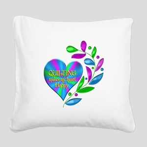 Quilting Happy Heart Square Canvas Pillow