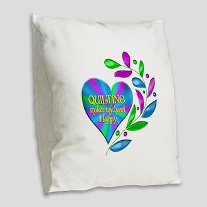 Quilting Happy Heart Burlap Throw Pillow