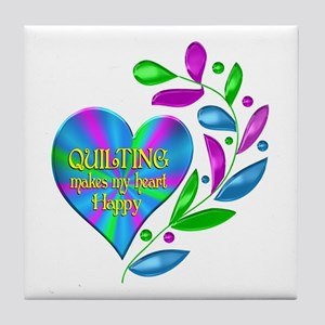 Quilting Happy Heart Tile Coaster