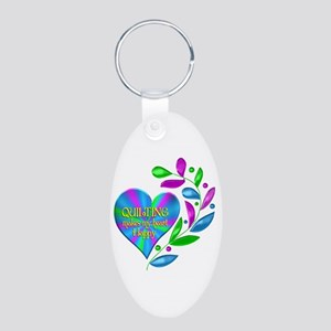 Quilting Happy Heart Aluminum Oval Keychain