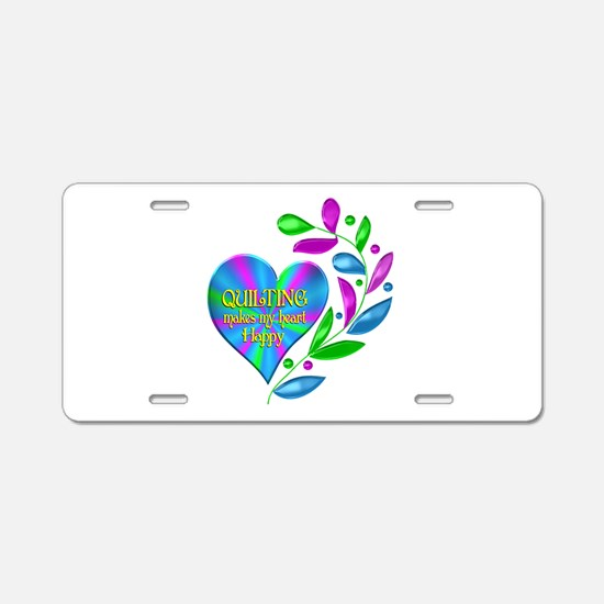 Quilting Happy Heart Aluminum License Plate