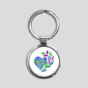 Quilting Happy Heart Round Keychain