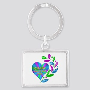 Quilting Happy Heart Landscape Keychain