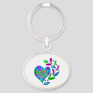 Quilting Happy Heart Oval Keychain